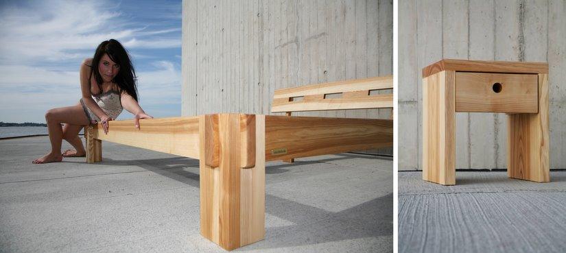 designer beistelltisch aus holz eiche buche kernbuche massiv design rollen. Black Bedroom Furniture Sets. Home Design Ideas